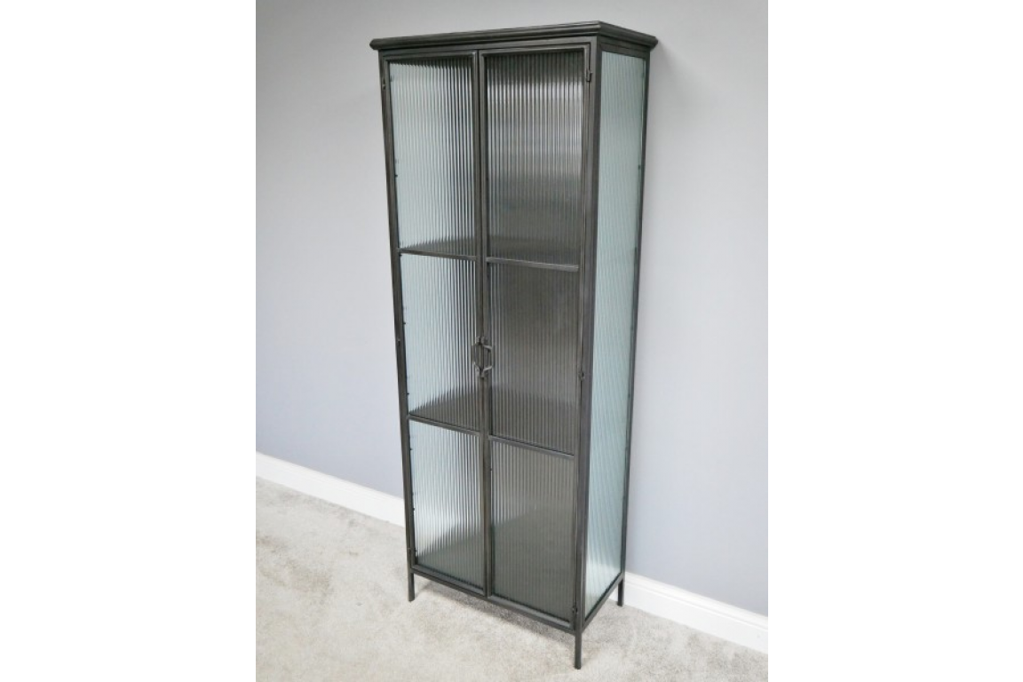 Large Glass And Metal Cabinet
