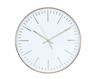Minimalist White and Gold Wall Clock