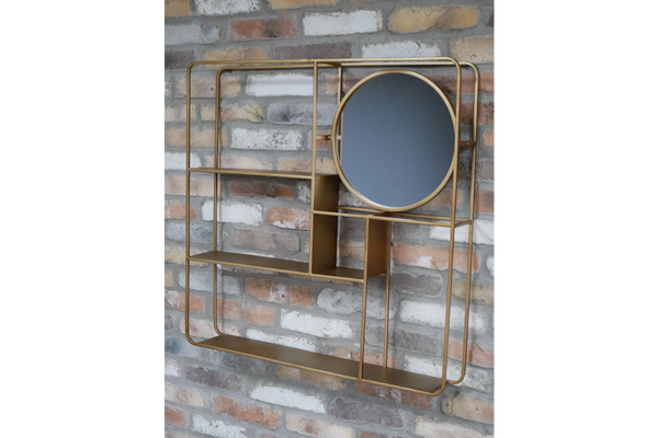Gold Wall Unit With Mirror