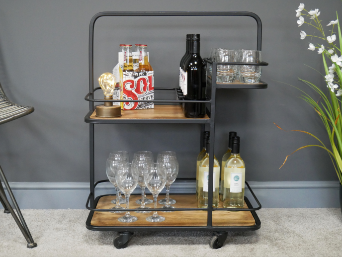 Mango Wood Drinks Trolley