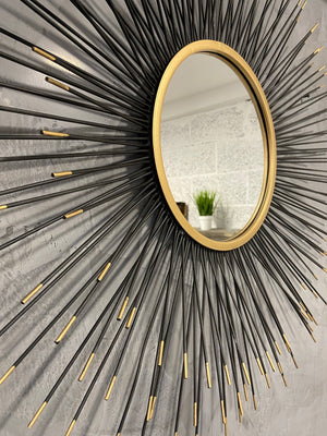 Sunburst Mirror - Black/Gold