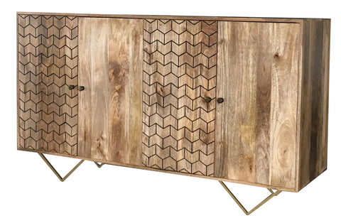 Geo-Carved 4 Door Sideboard