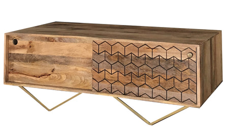 Geo-Carved Coffee Table / Media Unit