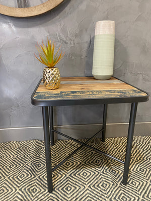 Rustic Mixed Wood Side Table