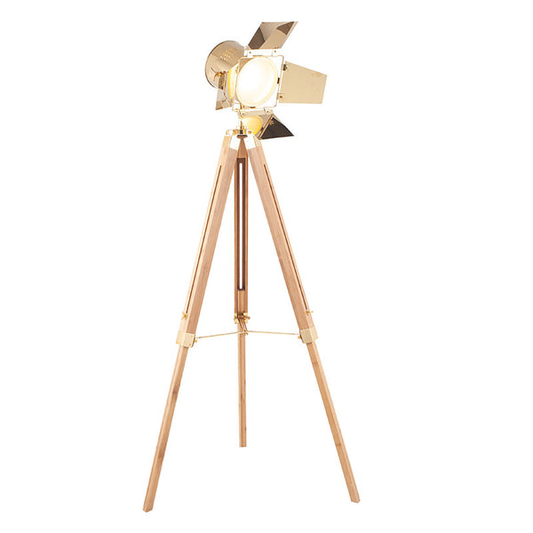 Film Set Floor Lamp- Gold and Natural Wood