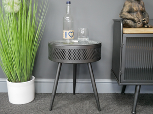 Industrial Side Table With Storage