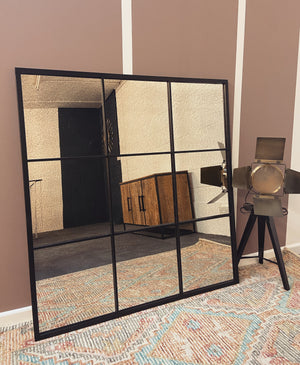 Matt Black Foxed Glass Mirror