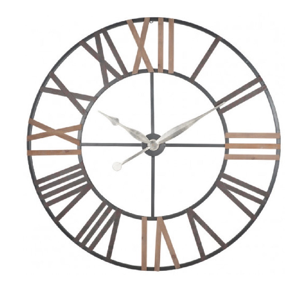 Grey Metal/Wood Roman Clock