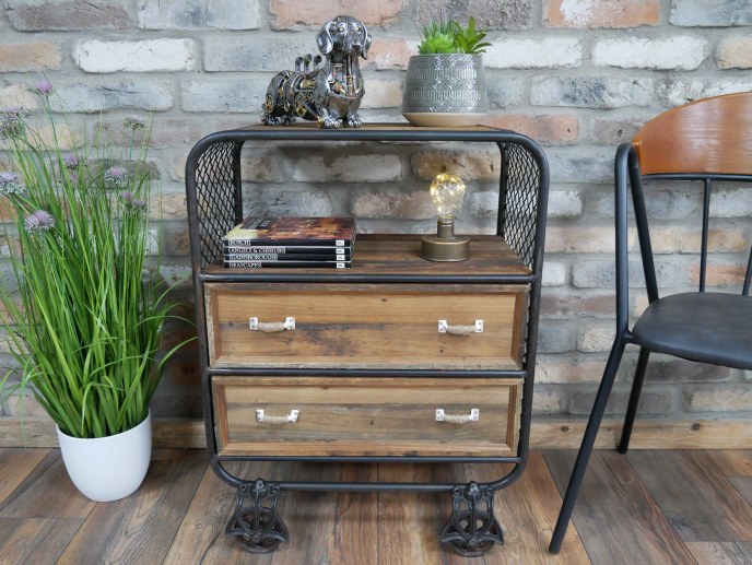 Rustic Industrial Cabinet (Two Drawer)