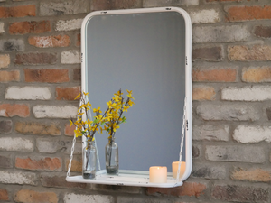 Mirror With Shelf - White