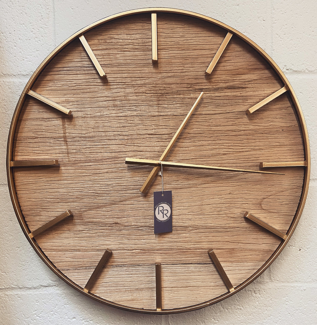 Minimal Gold Wooden Clock