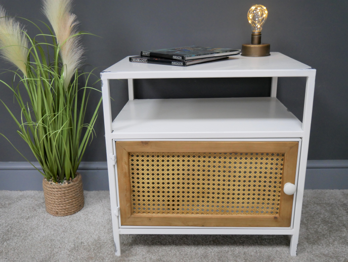 Metal and Rattan Bedside Cabinet