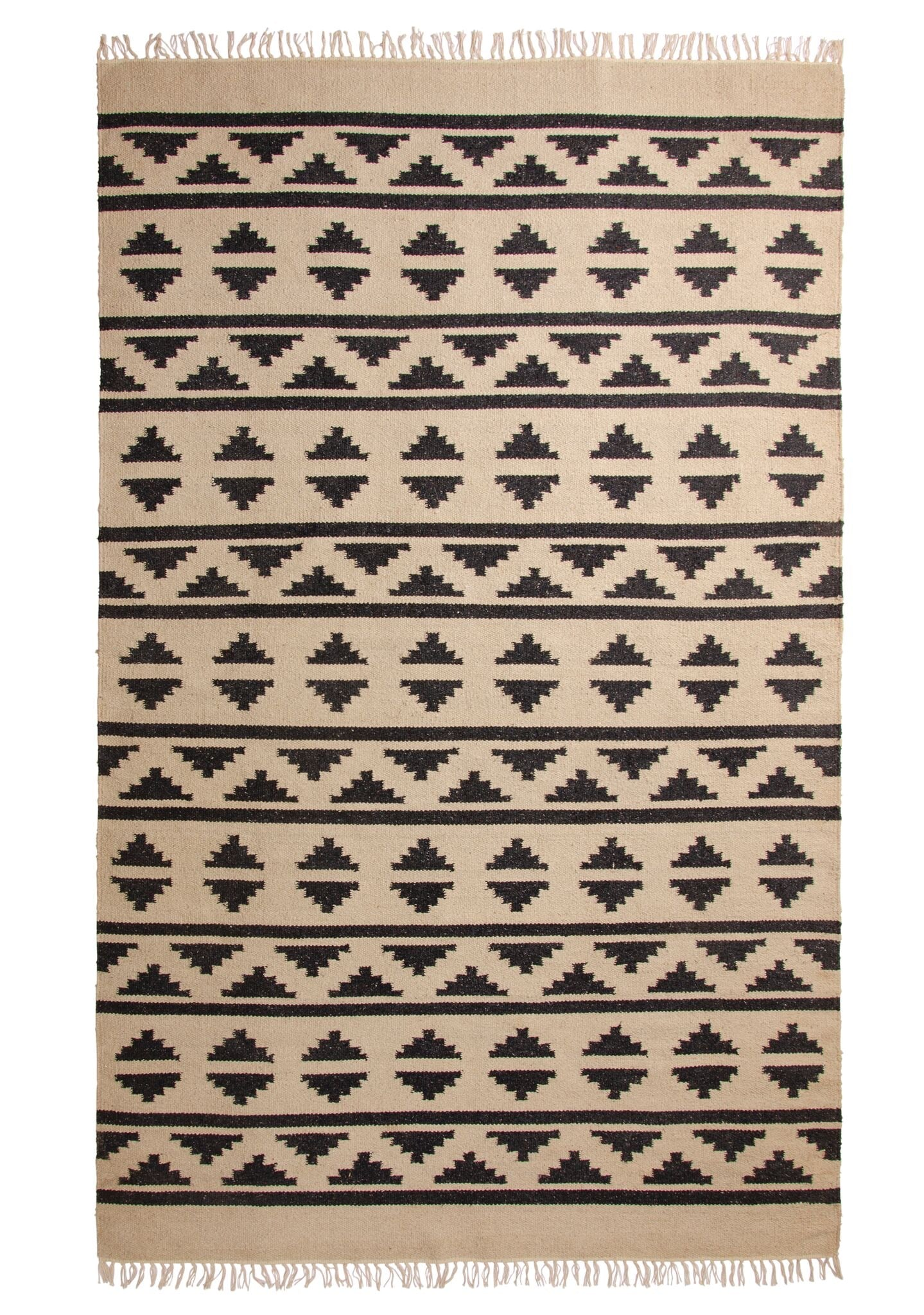 Black Aztec Recycled Yarn Rug