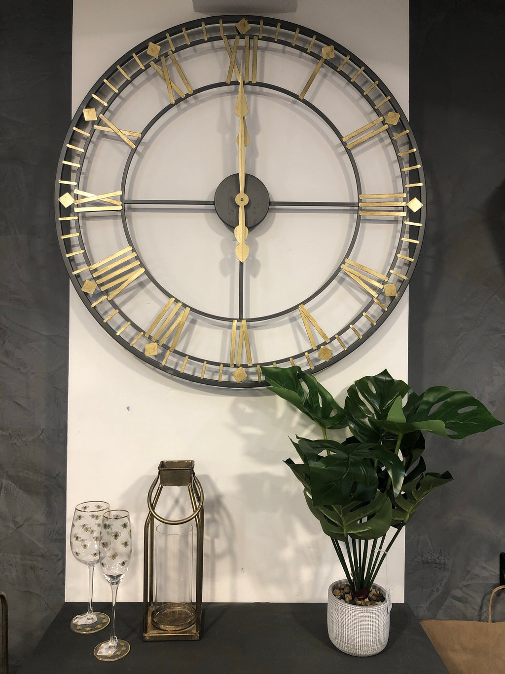 Black and Antique Gold Roman Clock