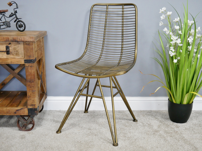 Industrial Metal Chair - Gold