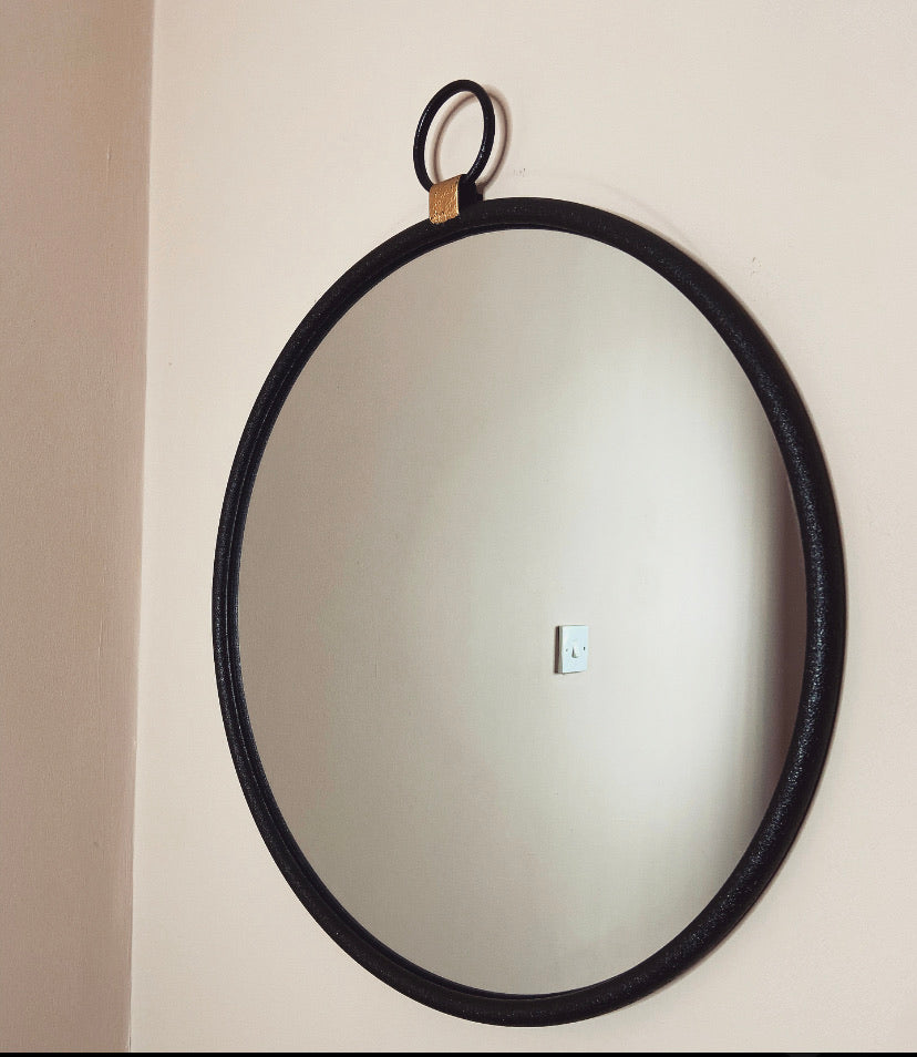 Black and Gold Round Mirror