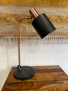 Black Marble and Antique Copper Table Lamp