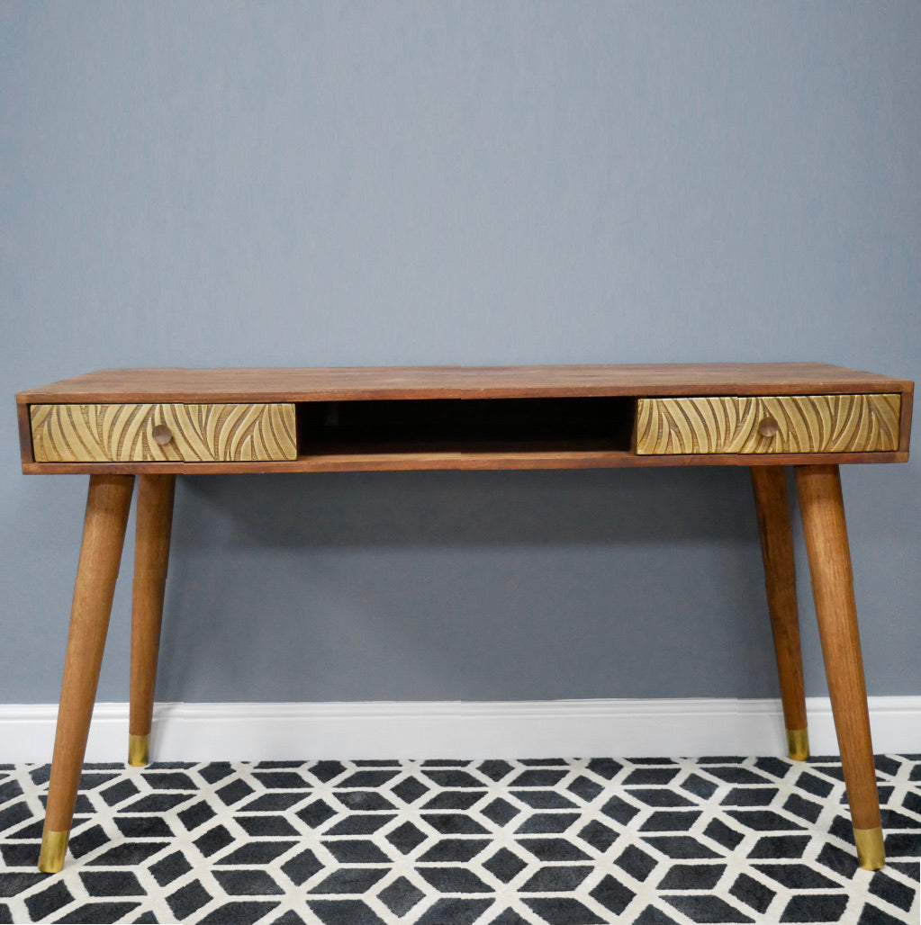 Brass Wave Writing Desk