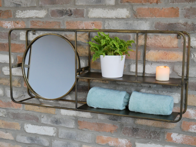 Bronze Wall Unit With Mirror