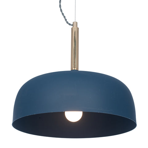 Matt Indigo Domed Metal Pendant