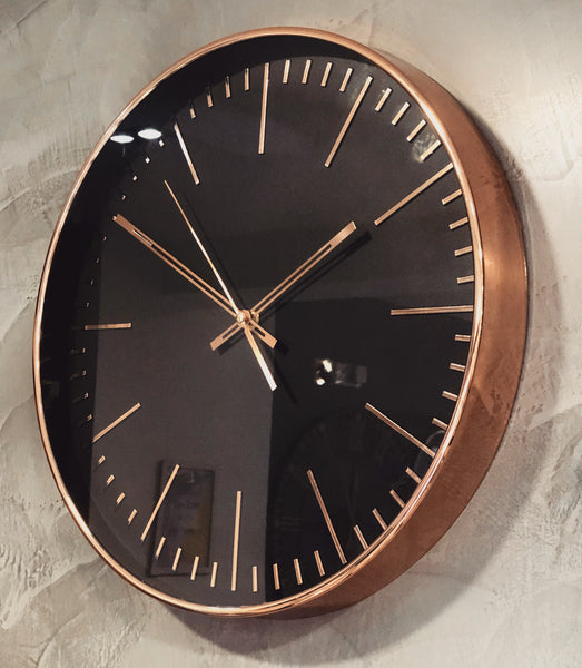 Minimalist Black and Copper Wall Clock