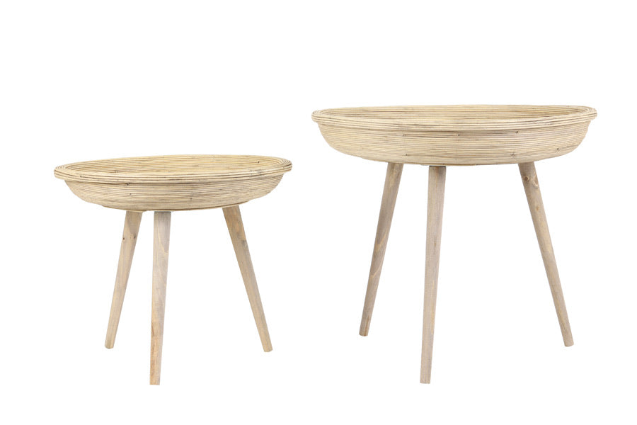 Rattan Side Tables - Set of 2