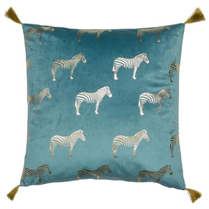 Zebra Teal Cushion