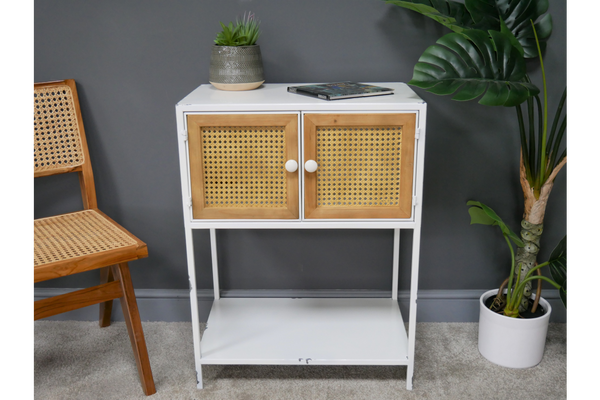 White Metal and Rattan Cabinet