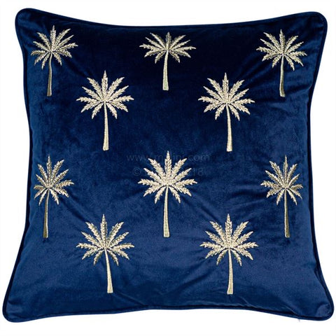 Navy Velvet Palm Cuhsion