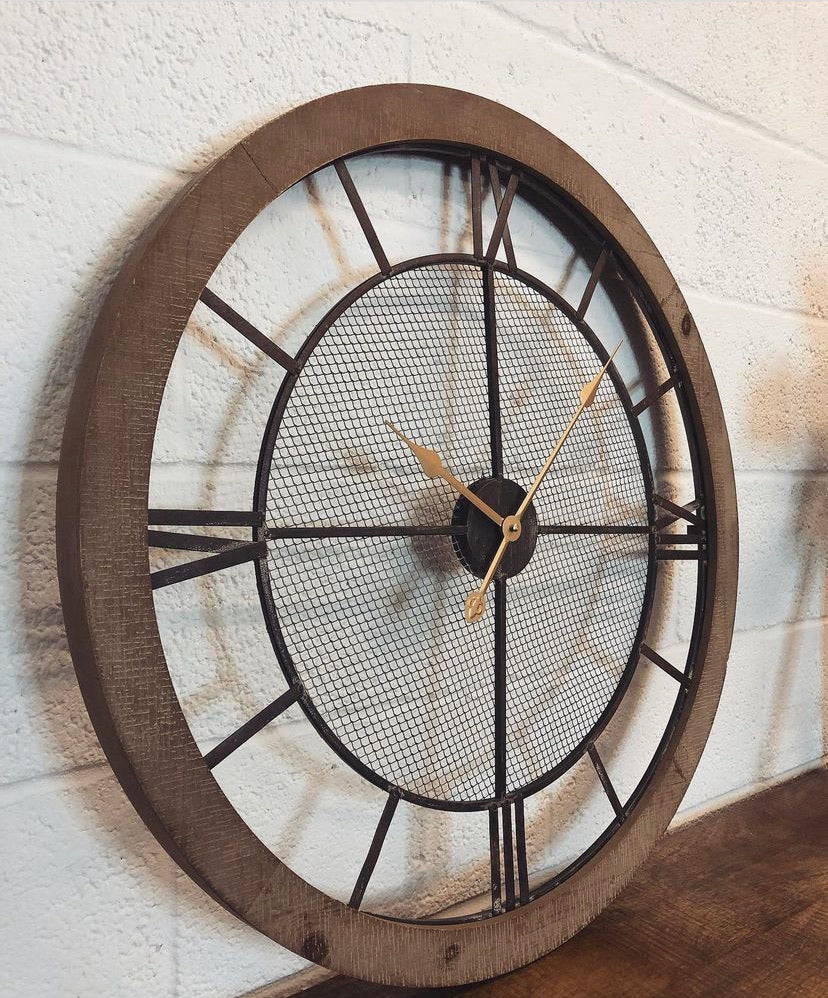 Natural Wood Roman Clock