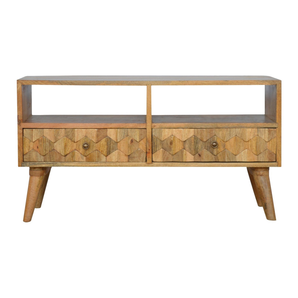 Hexagonal Carved TV Unit