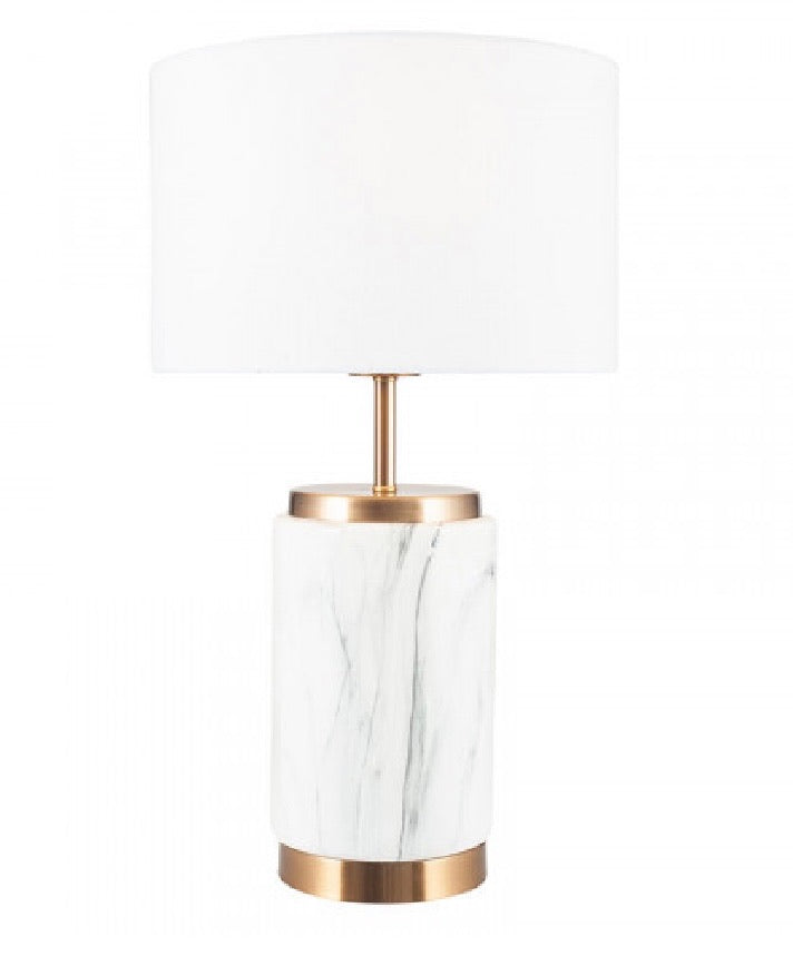 White/Brass Marble Table Lamp