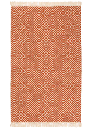 Diamond Pattern Recycled (PET) Rug -  Terracotta