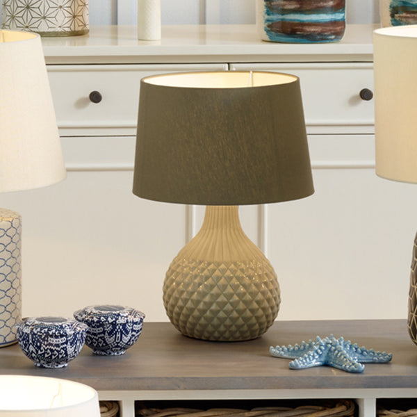 Grey Geo Ceramic Table Lamp