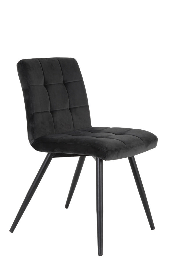 Set Of Velvet Dining Chairs - Dark Grey