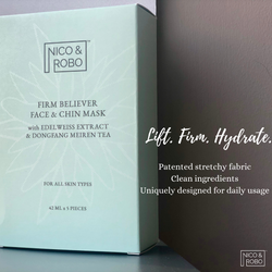 Patented all natural face and chin sheet mask. Clean ingredients and effective serum. It offers ultimate anti-aging and hydration solution to you skin. Firms and lift your face in just 10 minutes. NICO & ROBO's first product.