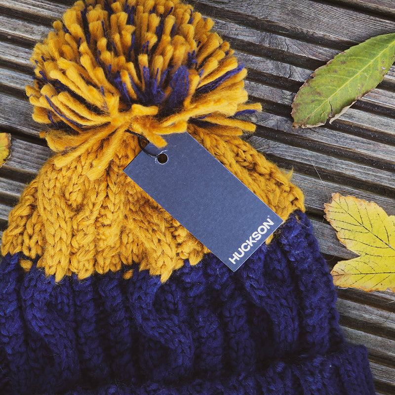 Oxford Navy and Mustard Bobble Beanie