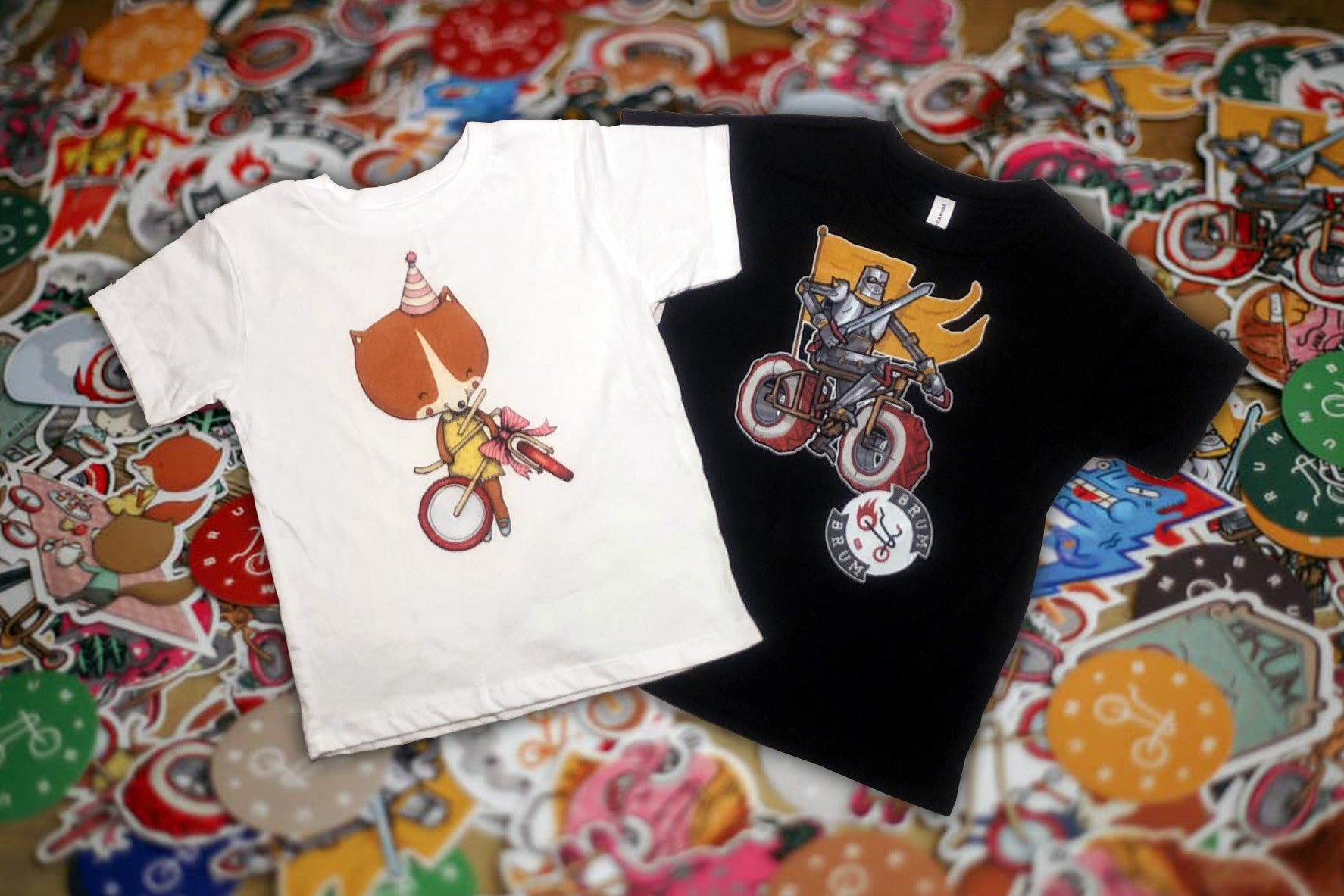 Design T-shirts with Brum Brum bike characters. Stylish and colorful gift from best Latvian designers to your child. It will makes your kid to feel as part of Brum Brum bikes explorers family.