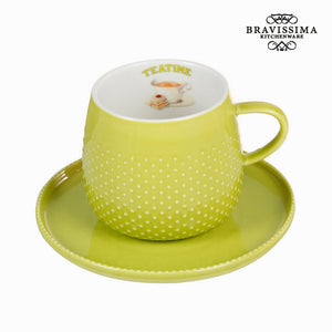 Taza con plato verde - Colección Kitchen's Deco by Bravissima Kitchen