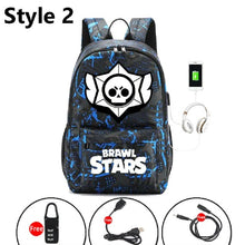 Cargar imagen en el visor de la galería, Brawl Stars Bookbag Backpack USB charging Canvas School Bags Shelly Colt Nita Bull Jessie Brock Mochila laptop packbag