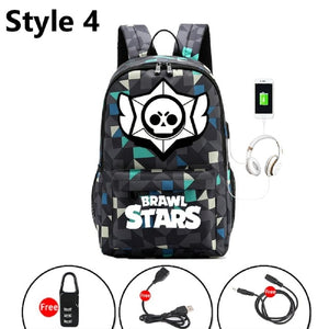 Brawl Stars Bookbag Backpack USB charging Canvas School Bags Shelly Colt Nita Bull Jessie Brock Mochila laptop packbag