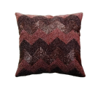"""Chevron Glass Beaded Embroidered Cushion Cover, 16"""" x 16"""""""