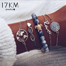 Load image into Gallery viewer, 17KM Vintage Turtle Heart Map Charm Bracelets Set For Women 2 New Design Stone Beads Infinite Bracelet Boho Jewelry Wholesale
