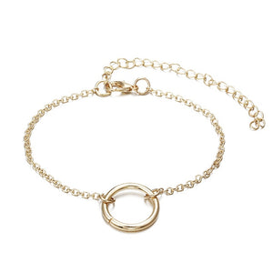 3Pcs/set Women's Fashion Punk Bracelet Simple Double Knot Loop Metal Chain Bracelet Bohemian Retro Jewelry Accessories NS16