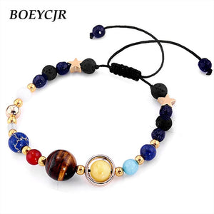 BOEYCJR Universe Planets Beads Bangles & Bracelets Fashion Jewelry Natural Solar System Energy Bracelet For Women or Men 2018