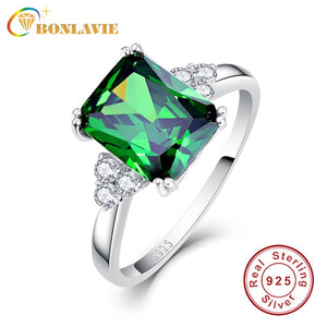BONLAVIE Fine Jewelry Silver 925 Nano Russian Emerald Square Green Ring Size 6 7 8 9 Women Female Rings Engagement Gift