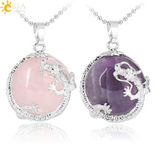 Load image into Gallery viewer, CSJA Necklaces Pendants Women Natural Stone Purple Crystal Pink Quartz Tiger Eye Lava Rock Flat Round Beads Dragon Fittings F304