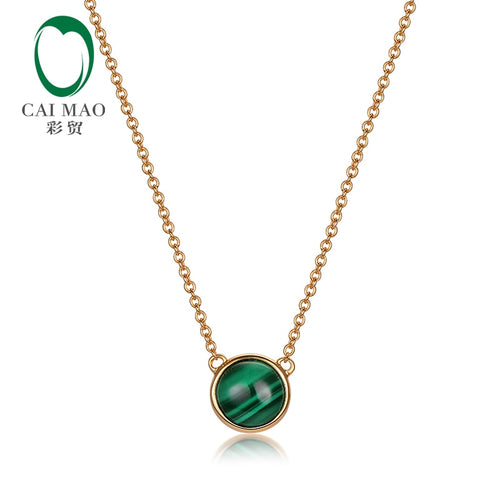 Caimao Jewelry Bezel Set Natural Malachite Chain Pendant for Womens Gorgeous 14kt Yellow Gold