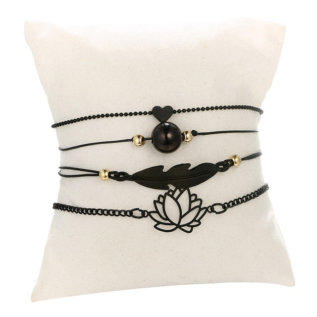 DIEZI Vintage Black Color Feather Lotus Charm Bracelets For Women Fashion Gold Metal Chain Bracelets Bangles Sets Jewelry Gifts