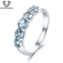 Load image into Gallery viewer, DOUBLE-R 1.16ct Nature Blue Topaz Rings 925 Sterling Silver Engagement Ring for Women Anniversary
